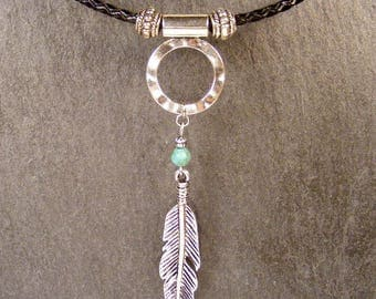Hammered Silver Circle Silver Feather Turquoise on Braided Black Leather Necklace