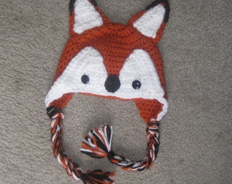Fox crochet hat made to order in sizes newborn to adult