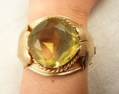 Sarah Coventry Large Gold Plated Hinged Bangle with Huge Citrine Glass Cabochon Versailles