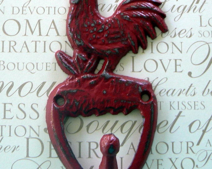 Rooster Red Cast Iron Shabby Chic Country Wall Hook Home Decor