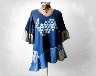 Plus Size Clothing Blue Rustic Shirt Up Cycled Tunic Women's Grunge Top Honey Bee Altered T-Shirt Recycle Jeans Loose Tunic Top XL 1X 'TORI'