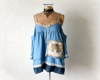 Off Shoulder Denim Blouse Cat Clothing Women's Shabby Top Blue Ruffle Shirt Country Clothes Boho Style Blouse Empire Waist Top XL 1X 'PAIGE'