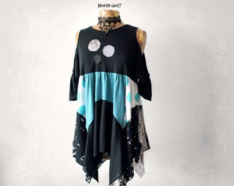 Black Boho Tunic Cold Shoulder Top Shabby Clothing Loose Layered Shirt Lagenlook Fashion Artsy Women's Clothes Bohemian Flowy Top M L 'ELLE'