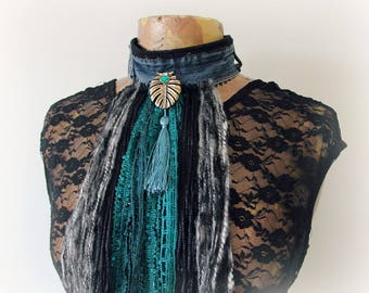 Bohemian Choker Long Fringe Hippie CHic Art Jewelry Upcycled Jeans Denim Necklace Black Grey Boho Women's Scarf Tassel Chocker 'VERONICA'