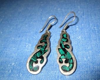 EARRINGS - INLAY - MALACHITE  - Mexico - Estate Sale  - Dangle - Fish Hook  - Sterling Silver    earrings 412