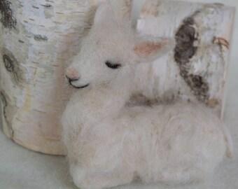 Needle Felted Baby Llama