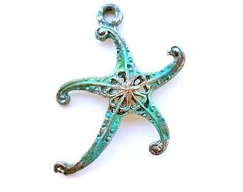 Patina Starfish Pendant, Verdigris Sea Star Pendant, Starfish Jewelry, Ancient Alchemy by Dry Gulch, 1 Pendant, Caspian Star #2048