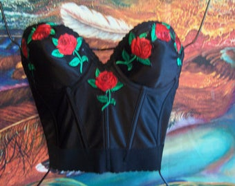 Black Corset Top, Gypsy, Party Top, Embroidered Top, Floral, Roses, Cinco de Mayo, size 36 B