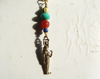 Egyptian Revival Goddess Hathor Carnelian and Turquoise Glass Pendant Necklace