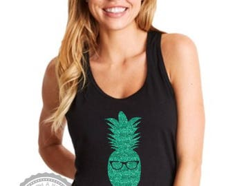 Women's Hipster Pineapple Tank Top- Funny Shirt- Stand Tall Like a Pineapple- Summertime Sunglasses Beach Coverup- Ladies XS to XL- #020