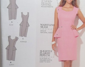 Simplicity 1417 Misses' Dress Sewing Pattern, Mother of the Bride Dress with Peplum Waist, Sleeve Variations,  Size 10 - 18 UNCUT