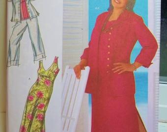 Simplicity 4558 Sewing Pattern Women's Plus Size Khaliah Ali Wardrobe, Sleeveless Dress and Top, Cropped Pants, Shirt Jacket Size  18W - 24W