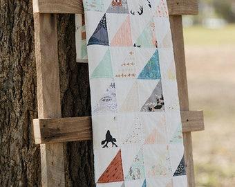 Modern Baby Quilt Handmade Woodland Animals Half Square Triangles