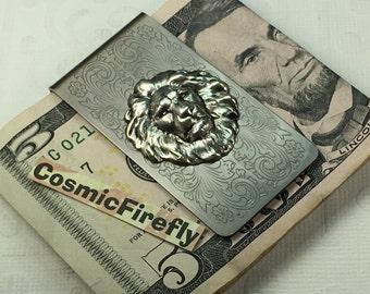 Antiqued Silver Lion Money Clip Steampunk Money Clip Gothic Victorian Classic Vintage Inspired Men's Money Clip Gifts For Men Him Men's Leo