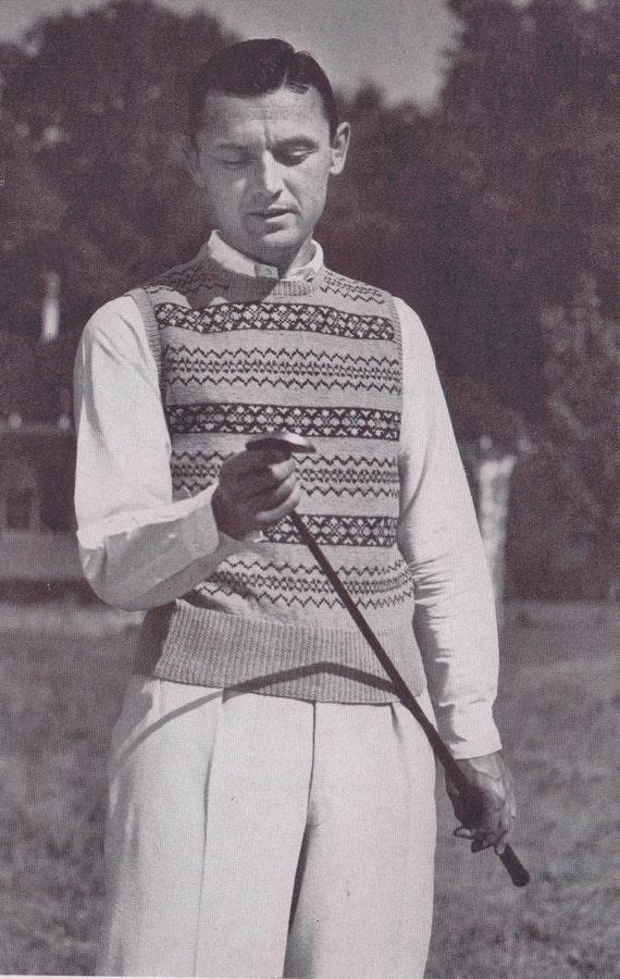 Knitting Pattern Mens Fair Isle Sleeveless Pullover Sweater Vest ...