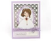 Girls communion card, first communion, holy 1st communion, religious card, personalized card, personalised card