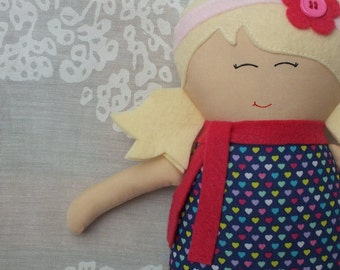 Handmade doll, doll, rag doll, soft doll, cloth doll, girl doll, gift for a girl, blonde hair, pink, hearts, valentines day, unique gift