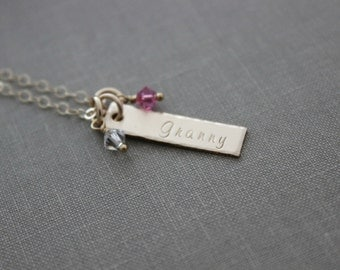 Grandma skinny bar Charm Necklace - 14k gold filled - Multiple Swarovski Crystal Birthstones - Hand Stamped - Mommy Jewelry - Custom - Child