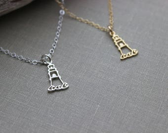 Gold vermeil or sterling silver lighthouse Charm Necklace with 14k gold filled or sterling cable chain - Hope necklace - Beach Jewelry