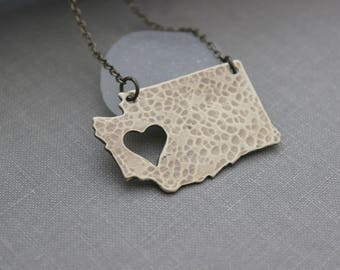 Washington State Rustic Bronze Necklace with antiqued brass chain - Heart cut out - WA State Love - Hometown necklace