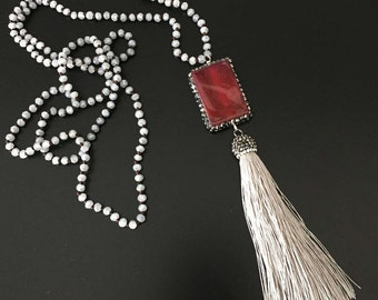 Grey Pave Hand Knotted Silk Tassel Necklace