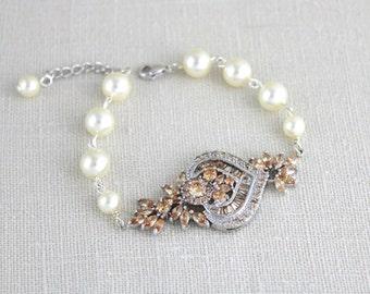 Bridal Bracelet, Wedding jewelry, Crystal Wedding bracelet, Champagne crystal bracelet, Art Deco bracelet, Vintage style bracelet, EMMA