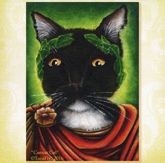 Julius Caesar Cat Shakespeare Literary Cats Fine Art Print 5x7