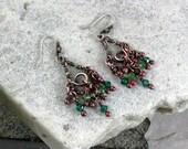 Green Chandelier Earrings, Antique Copper, Small Chandelier Earrings, Beaded, Handmade, Wire Wrapped, STERLING SILVER EARWIRES