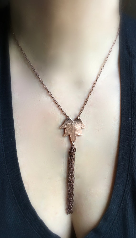 Lotus Blossom Necklace w/ Tassel - Copper, Bronze or Sterling
