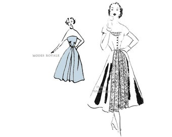 1950s Modes Royale Pattern 1074, Full Skirt Strapless Dress with Redingote, Rare Vintage Sewing Pattern