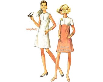 Simplicity 8086 60s A Line Dress Pattern, Short Sleeves or Sleeveless Princess Line Skirt Color Block Dress with Pockets, Bust 38