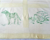 vintage baby quilt/coverlet/hand embroidered/lots of animals/light green/nursery/crib blanket/baby bedding/vintage linens