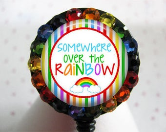 ID Badge Holder Retractable Reel  Over the Rainbow Nurse using Swarovski Elements