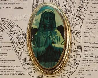 Praying, Hands, Virgin, Mary, Statue, Graveyard, Art, Aqua, Gold, Original, Wall Decor, Mixed Media, Oval, Miniature, 3 x 5