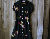 Black Floral Dress Short Sleeve 1980s to 90s Carol Anderson Button Front Vintage From Nowvintage on Etsy