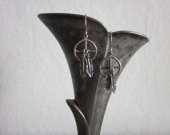 Sterling Silver dreamcatcher and feather earrings