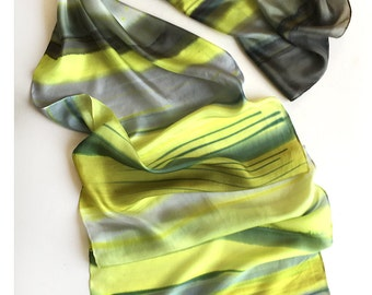 Neon yellow stripes scarf, Hand painted silk scarf pongee 8, Geometric scarf, Gray yellow scarf, Painted scarf, Birthday gift mom, gift her