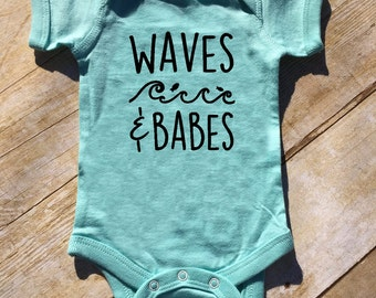 Waves & Babes one-piece. Beach Babe. Beach Baby. Spring Break baby outfit. Beach Baby Outfit. Waves and Babes. Fast shipping!