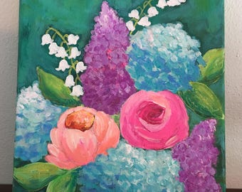 Flower Painting, Lilacs Painting, Hydrangea Painting, Peony Painting, Rose Painting, Colorful Art, 8x10 Original Painting, Blue, Pink, Coral