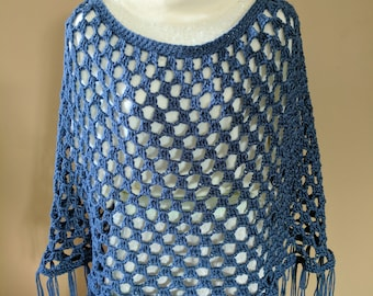 Lovely Crocheted Poncho in Dark Denim Blue Color - fits LARGER Sizes M to XL