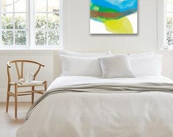 "Minimal Abstract Landscape Painting, Original Art, yellow, pink/beige, blue, green 25 x 25"" -- ""Sunlit Hillside II"" modern expressive canvas"