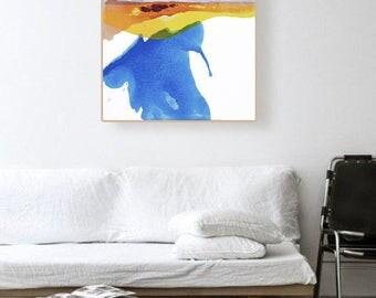 "Original Abstract Landscape Modern Art, blue, purple/grey, yellow, orange/red 25 x 30""  ""Sunlit Horizon"" landscape contemporary painting"