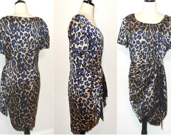Slinky Silk Leopard Print Albert Nipon Wrap Dress 80s does 20s 40s Disco Mod Jungle Print Gown Lace Trim Black Blue & Tan Cougar Cat ISsues