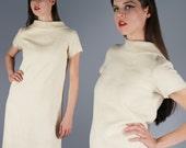 60s Mod Dress 1960s Nubby Knit Dress Cream Dress Cap Sleeves A Line Dress Secretary Career Dress