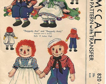 McCall 820 1950s Raggedy Ann and Andy 19 inch Dolls Vintage Pattern Transfer Included