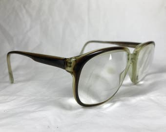 Swan USA 010 Mens Over Size Eyeglasses in Brown Fade Out Translucent Plastic
