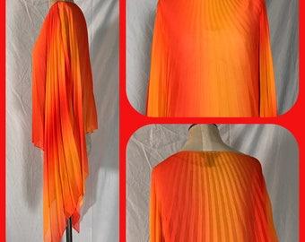 Ashley Stewart Fire Orange Two Tone Pleated Sheer Chiffon Cover Shawl Poncho - Size 14 16