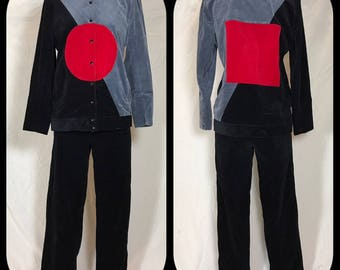 1970s Abrizzi Corduroy Suit Set with Bold Geometric Pattern - Size 6