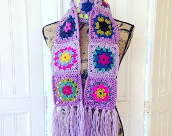 Scarf, Crochet Scarf, Lavender Granny Square Scarf, Winter Scarf, Crocheted Sunburst, Boho Crochet Scarf, Purple Scarf, Bright Colorful