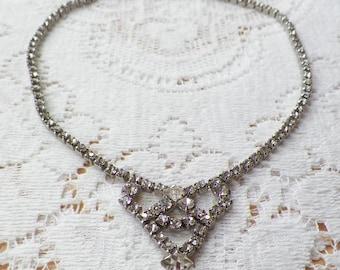 Vintage Clear Rhinestone Necklace, Triangle / V / Heart Shaped Design, Vintage Bride / Bridal / Wedding, Evening